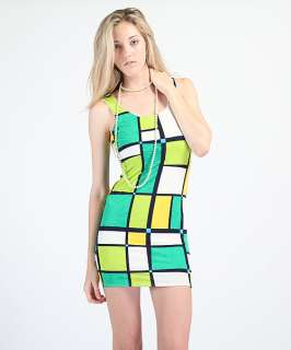 MOGAN Mondrian Colorblock Sleeveless Fitted MINI DRESS Cocktail