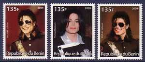 Michael Jackson Famous People 3 different MNH stamps
