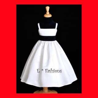 WHITE BLACK HOLIDAY FLOWER GIRL DRESS L 2 4 6 8 10 #832