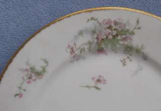 Schleiger 146 Dinner Plates Pink Apple Blossom Gold Trim FRANCE
