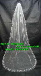Ivory & White Cathedral Bride/Wedding Veil Handmade beaded With Comb