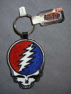 GRATEFUL DEAD STEAL YOUR FACE SKULL LOGO PATCH KEYCHAIN
