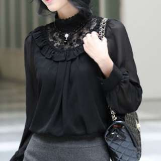 New Womens Clothes Lace high neck standing collar Top Shirt T Shirts