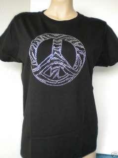 RHINESTONE ZEBRA PEACE TOP T SHIRT WOMEN XS XL 3XL NEW