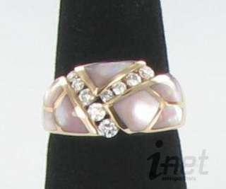 Kabana 14K Rose Gold 9 Diamond 0.41cts Pink MOP Inlay Ring Sz 8 NEW $