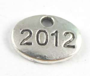 50PCS Tibetan silver number 2012 charms FC15592