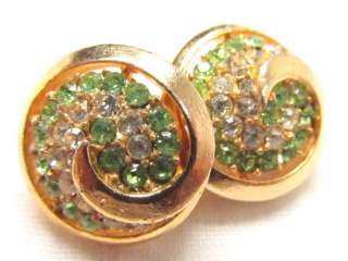 Vintage Gold Plate Green Clear Rhinestone Clip EARRINGS