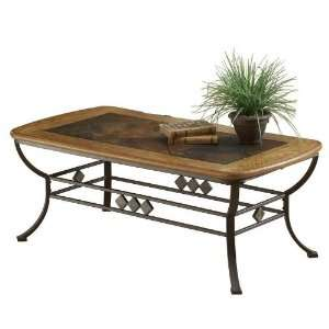 Coffee Table with Slate Top in Brown Oak Finish: Furniture