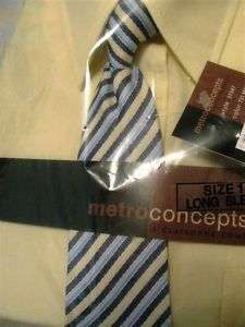 Boys Shirt Tie 14 Long Sleeve Yellow Metro Concepts NWT