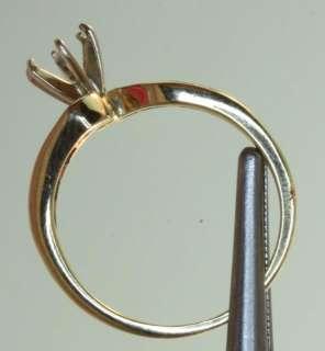 14k yellow gold .10 diamond round semi mount ring band estate vintage