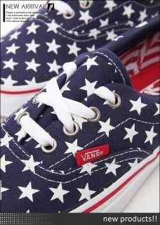 BN VANS ERA Stars & Stripes PtBl/TW Navy with White Star Shoes #V308