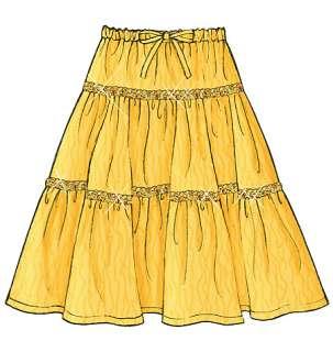 B4722 Patron Couture Jupes pour Fillette 12 16 Tres Facile