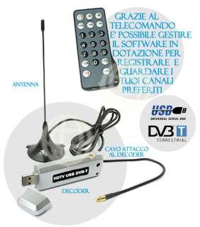 RICEVITORE DIGITALE HDTV USB DVB T DECODER TERRESTRE PC