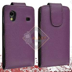 PURPLE LEATHER FLIP CASE COVER FOR SAMSUNG GALAXY ACE S5830