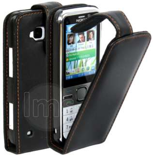 BLACK FLIP LEATHER CASE COVER II FOR NOKIA C5 + FILM