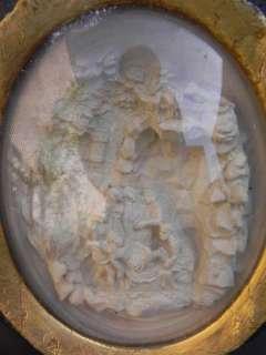 Ancien cadre verre bombé reliquaire napoleon III