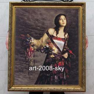 women Oil painting female art chinese Beautiful girl 30x40 inch