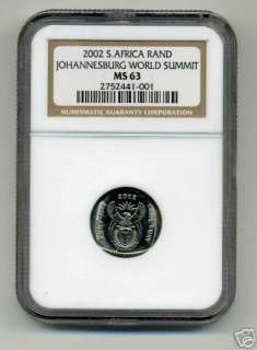 NGC MS 63 SOUTH AFRICA 2000 R1 Johannesburg Summit Coin