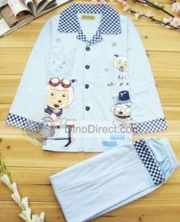 Wholesale Cartoon Pattern Long Sleeve Button Up Kids Pajama Set Girls