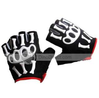 Half Finger Skeleton Motorcycle Riding Gloves   DinoDirect