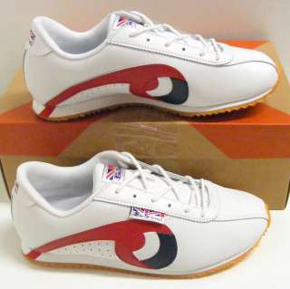 KIDS UNISEX BEN SHERMAN WHITE NV RED TRAINERS SZ 4 BNIB