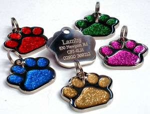 27mm Glitter Paw Dog Pet ID Tag Disc Engraved Free