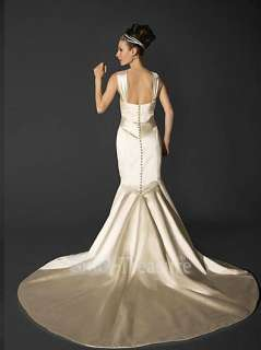 Crossover Aglet Mermaid Beading/Ruffle Court Train Satin Wedding Dress