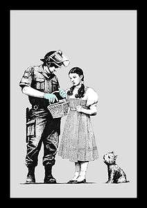 BANKSY GRAFFITI WIZARD OF OZ DOROTHY STOP AND SEARCH Canvas Art Print