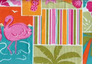 Tropical Vinyl Tablecloth Pink Flamingo Flip Flop Palm Trees Beach