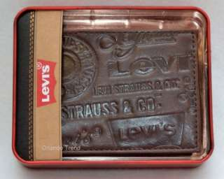 New Levis Brown Logo Printed Genuine Leather Wallet Bifold Men