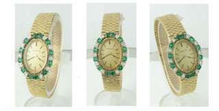 18k Gold & Diamond & Emerald Tiffany Ladies Watch 1971