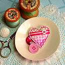 handmade fabric love heart brooch by claire hurd design