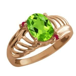 1.19 Ct Oval Green Peridot Red Ruby 14K Rose Gold Ring Jewelry