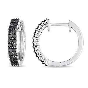 48ct Black Diamond 10K White Gold Hoop Earrings