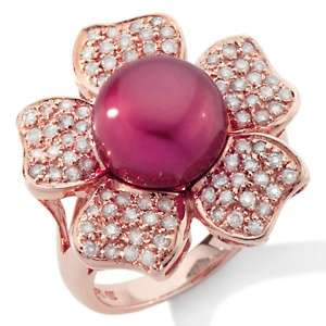 Cultured Fresh Water Pearl and Diamond 14K Rose Gold Flower Ring