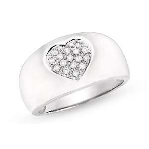 16ct Diamond 14K White Gold Heart Dome Ring