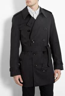 Burberry Brit  Black Check Lined Britton Cotton Trench Coat by