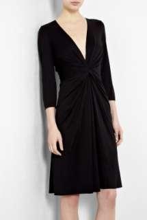 Issa  Black Gather Waist Silk Jersey Dress by Issa
