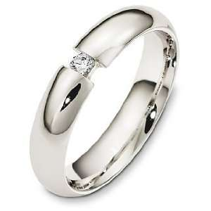 5mm 14 Karat White Gold Diamond Wedding Band Ring   10.5 Jewelry