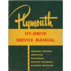 1953 PLYMOUTH Hy Drive Transmission Service Manual