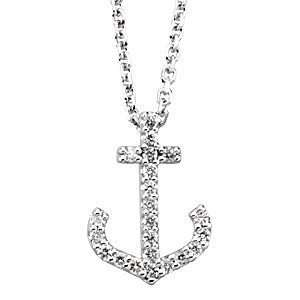 Chic 14k White Gold Diamond Anchor Pendant   FREE Chain Jewelry
