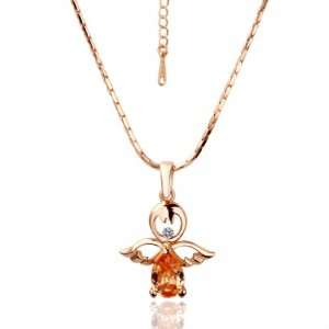Rose Gold Crystal Angel Pendant 18k Gold Plated Necklace Czech Drill