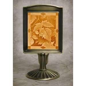 Leaves Lithophane Mantle Stand Antique Brass