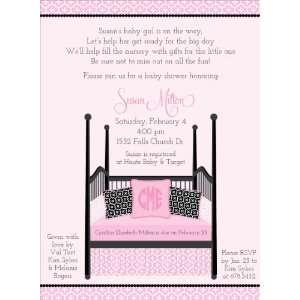 : Four Post Crib Pink & Black Baby Shower Invitations: Home & Kitchen
