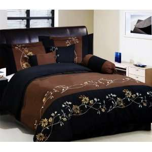 BLACK Embroidered Comforter Set / BED IN A BAG   QUEEN SIZE BEDDING