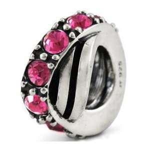 BIRTHSTONE Pink Crystal Wave European Charm Bead Arts, Crafts