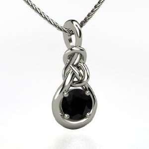 Knot Pendant, Round Black Onyx 18K White Gold Necklace Jewelry