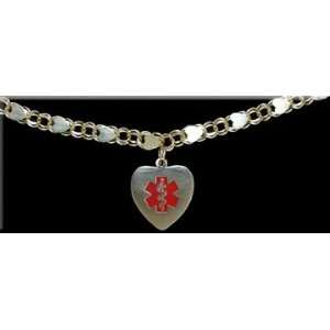 Double Link Style Medical ID Charm Bracelet