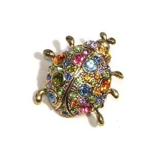 Color Austrian Rhinestone Lady Bug Gold Plated Brooch Pin Jewelry