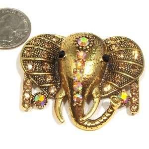 Topaz Austrian Rhinestone Gold Plated Elephant Brooch Pendant Jewelry
